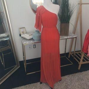 Orange Pleated Maxi One Shoulder Dress